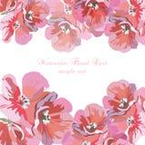 Grußkarte mit rosa Aquarellblumen lizenzfreie abbildung