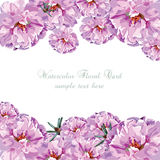 Grußkarte mit rosa Aquarellblumen vektor abbildung