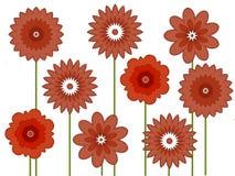 Grußkarte mit roten Blumen Stockbilder