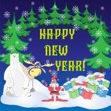 Grußkarte mit Sankt-, Weihnachtsbäumen, Geschenken, Eisbären und Elchen vektor abbildung