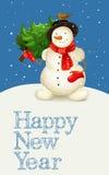 Grußkarte mit Schneemann Stockbild