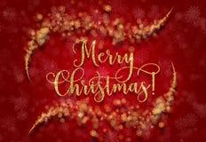 Grußkarte mit silbernem Text auf einem blauen Hintergrund Funkelnphrase frohe Weihnachten Stockfotografie