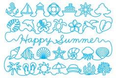Grußkarte mit Sommerikonen stock abbildung