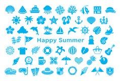 Grußkarte mit Sommerikonen lizenzfreie abbildung