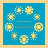 Grußkarte mit Sonnen Lizenzfreie Stockfotografie