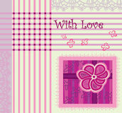Grußkarte mit Spitze in den lila und rosafarbenen Farben Stockbild