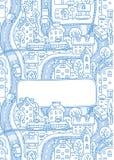Grußkarte mit Stadtmuster und ein Fenster für Text Stockbild