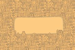 Grußkarte mit Stadtmuster und ein Fenster für Text Lizenzfreie Stockfotografie