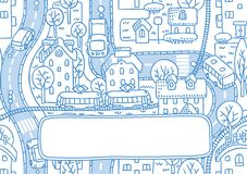 Grußkarte mit Stadtmuster und ein Fenster für Text Stockfotografie