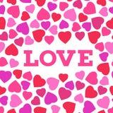 Grußkarte mit stilisiertem Herzsymbol und Liebesaufschrift Romantische Tapete Stockbilder