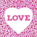 Grußkarte mit stilisiertem Herzsymbol und Liebesaufschrift Romantische Tapete Lizenzfreie Stockbilder