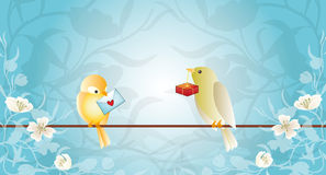 Grußkarte mit Vögeln Stockbild
