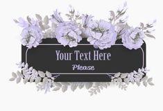 Grußkarte mit violetter Mohnblumenpastellweinlese Lizenzfreie Stockfotografie