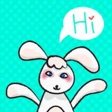 Grußkarte mit weißem Ostern-Kaninchen Lizenzfreies Stockbild