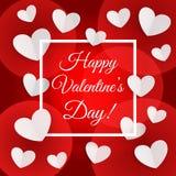 Grußkarte mit weißen Herzen und ein Rahmen mit Aufschrift glücklichem Valentinstag stock abbildung