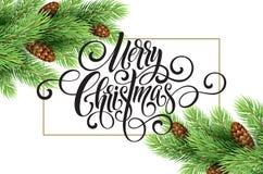 Grußkarte mit Weihnachtsbaum und kalligraphischer Seufzer frohen Weihnachten Vektorfeiertagsillustration Stockfoto