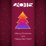 Grußkarte mit Weihnachtsbaum und Schneeflocken Lizenzfreies Stockfoto