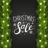 Grußkarte mit Weihnachtsbaumgrenze Stockfotos