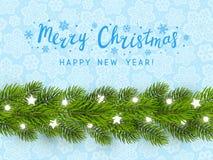 Grußkarte mit Weihnachtsbaumgrenze Stockfotografie
