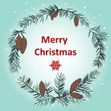 Grußkarte mit Weihnachtskranz Stockbild