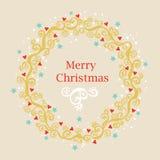 Grußkarte mit Weihnachtskranz Stockfotos