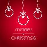 Grußkarte mit Weihnachtskugeln Lizenzfreies Stockbild