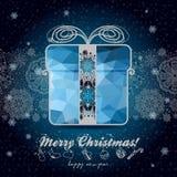 Grußkarte mit Winterurlauben für Ihr Design Lizenzfreies Stockbild