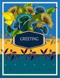 Grußkarte mit Zusammenfassung blüht Glockenblumen Stockfoto