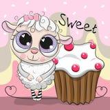Grußkarte nette Schafe mit Kuchen lizenzfreie abbildung