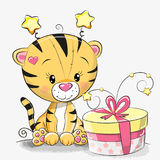 Grußkarte netter Tiger mit Geschenk Stockfotografie