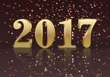 Grußkarte neuen Jahres des Gold 2017 mit Satz Zahlen stock abbildung