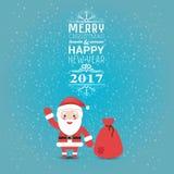 Grußkarte oder -einladung frohe Weihnachten und guten Rutsch ins Neue Jahr 2017 mit Weihnachtsmann und Tasche mit Geschenken Vekt vektor abbildung