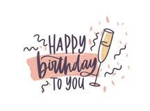 Grußkarte oder Postkartenschablone mit alles Gute zum Geburtstag dem Wunsch handgeschrieben mit dem eleganten Kursivguß vorbei ve lizenzfreie abbildung