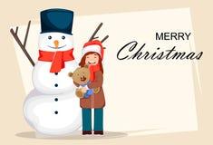 Grußkarte, -plakat oder -fahne der frohen Weihnachten lizenzfreie abbildung