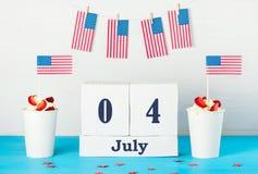 Grußkarte am Unabhängigkeitstag von Amerika Stockfotografie