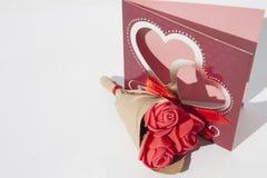 Grußkarte und ein Blumenstrauß von Mini Lizenzfreie Stockfotografie