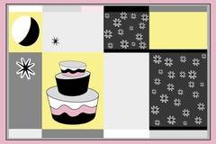Grußkarte und -kuchen lizenzfreie abbildung