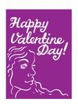 Grußkarte Valentinsgruß ` s Tag Bild eines junges Mädchen ` s Kopfes und Stockfotografie