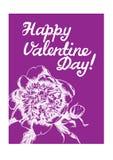 Grußkarte Valentinsgruß ` s Tag Ein Bild einer Pfingstrose und des hand--wr Stockfotografie