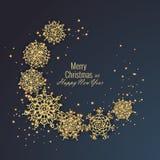 Grußkarte 2018, Vektorillustration der frohen Weihnachten und des guten Rutsch ins Neue Jahr Stockfoto