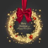 Grußkarte 2018, Vektorillustration der frohen Weihnachten und des guten Rutsch ins Neue Jahr Stockbild