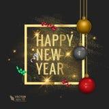 Grußkarte 2018, Vektorillustration der frohen Weihnachten und des guten Rutsch ins Neue Jahr Lizenzfreies Stockbild