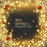 Grußkarte 2018, Vektorillustration der frohen Weihnachten und des guten Rutsch ins Neue Jahr Stockfotografie