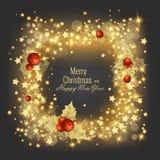 Grußkarte 2018, Vektorillustration der frohen Weihnachten und des guten Rutsch ins Neue Jahr Stockbilder