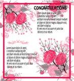 Grußkarte von rosa Mohnblumen, Weinlese Lizenzfreie Stockfotografie