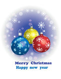 Grußkarte, Weihnachtskugel Stockfoto
