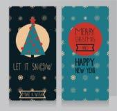 Grußkarten für Weihnachten mit Schneeflocke und geometrischer snoflakes Verzierung Stockbilder