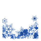 Grußkarten mit Aquarellschneeflocken und eisigem Muster Handgemalte Illustration Stockfotografie