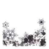 Grußkarten mit Aquarellschneeflocken und eisigem Muster Handgemalte Illustration Lizenzfreie Stockfotografie