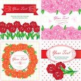 Grußkarten mit Roseblumen. Vektor Stockfotos